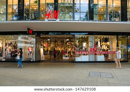 berlin july 24 h m store on the kurfuerstendamm h m hennes mauritz ab h m is a swedish. Black Bedroom Furniture Sets. Home Design Ideas