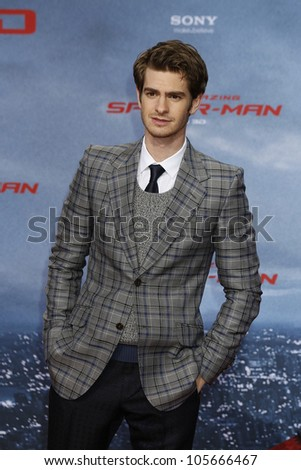"BERLIN - JUN 20: Andrew Garfield at the premiere of ""The Amazing Spider-Man"" on June 20, 2012 in Berlin, Germany"