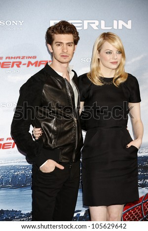 "BERLIN - JUN 20: Andrew Garfield, Emma Stone at the photo call for ""The Amazing Spider-Man"" on June 20, 2012 in Berlin, Germany"