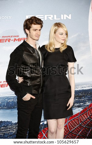 """BERLIN - JUN 20: Andrew Garfield, Emma Stone at the photo call for """"The Amazing Spider-Man"""" on June 20, 2012 in Berlin, Germany"""