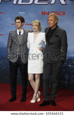 "BERLIN - JUN 20: Andrew Garfield, Emma Stone, Rhys Ifans at the premiere of ""The Amazing Spider-Man"" on June 20, 2012 in Berlin, Germany"