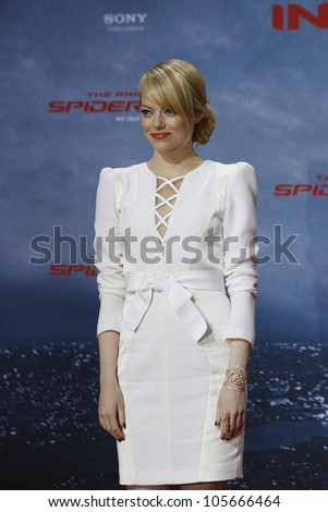 "BERLIN - JUN 20: Emma Stone at the premiere of ""The Amazing Spider-Man"" on June 20, 2012 in Berlin, Germany"
