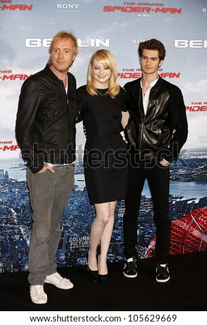 """BERLIN - JUN 20: Rhys Ifans, Andrew Garfield, Emma Stone at the photo call for """"The Amazing Spider-Man"""" on June 20, 2012 in Berlin, Germany - stock photo"""
