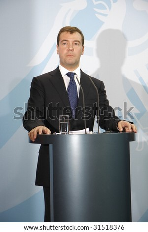 BERLIN, JUNE 5: Russian President Dmitri Medwedew at a meeting with the German Chancellor in Berlin on June 5, 2008