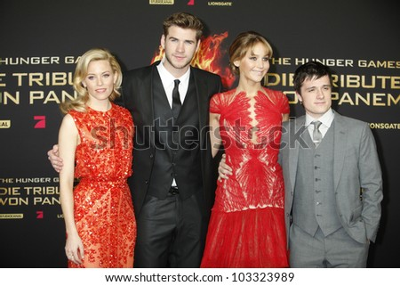 BERLIN - MAR 16: Elizabeth Banks, Liam Hemsworth, Jennifer Lawrence, Josh Hutcherson at the Hunger Games premiere on March 16, 2012 in Berlin, Germany