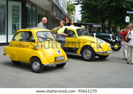 berlin may 28 a small vehicle bmw isetta 300 adac and. Black Bedroom Furniture Sets. Home Design Ideas