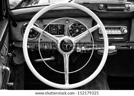 """BERLIN - MAY 11: Cab full-size luxury car Mercedes-Benz 220 """"Cabriolet A"""" (W187) black and white, 26th Oldtimer-Tage Berlin-Brandenburg, May 11, 2013 Berlin, Germany"""