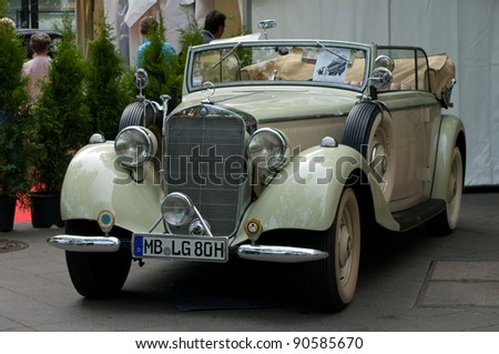 """BERLIN - MAY 28: Car Mercedes-Benz Type 230 Cabriolet, the exhibition """"125 car history - 125 years of history Kurfurstendamm"""", May 28, 2011 in Berlin, Germany"""
