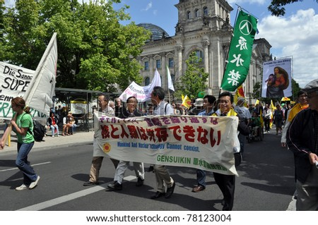 BERLIN - MAY 28: People protest against nuclear power, Berlin. May 28, 2011 in Berlin, Germany