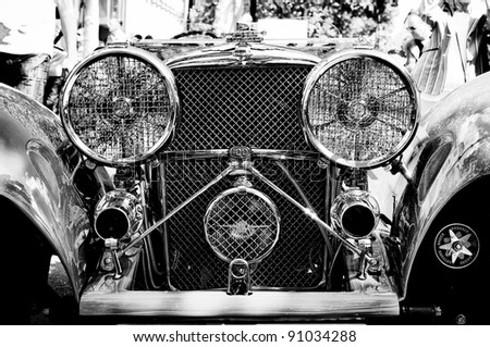 """BERLIN - MAY 28: The Jaguar SS 100 Roadster (Black and White), the exhibition """"125 car history - 125 years of history Kurfurstendamm"""", May 28, 2011 in Berlin, Germany"""