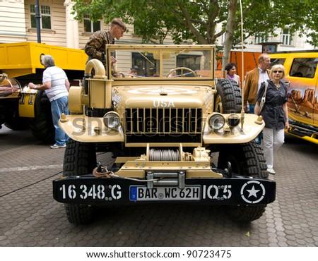 "BERLIN - MAY 28: U.S. light military trucks Dodge WC-51, the exhibition ""125 car history - 125 years of history Kurfurstendamm"", May 28, 2011 in Berlin, Germany"
