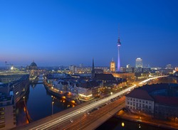 Berlin Mitte Skyline at evening, Berlin, Germany, Europe