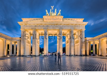 Berlin night, the Brandenburg Gate in Berlin, Germany.