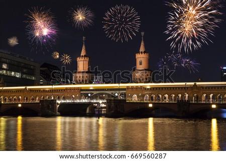 Berlin Oberbaumbridge at new year's eve