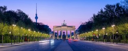 Berlin panorama with Brandenburg gate and tv tower, Germany