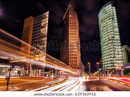berlin, potsdamer platz at night Stock foto ©