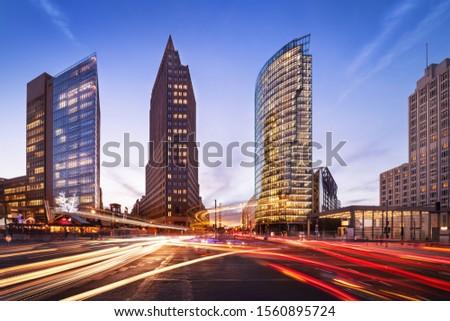 berlin, potsdamer platz at sunset Stock foto ©