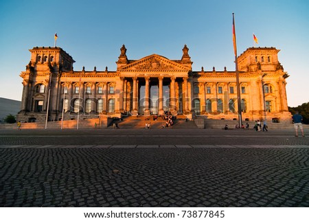 Berlin Reichstag government with blue sky