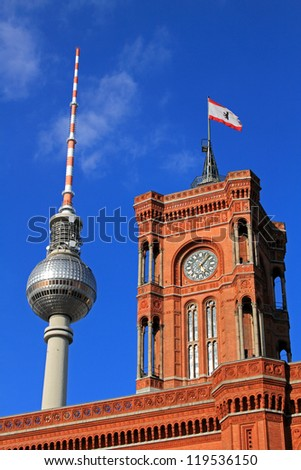 Berlin's Fernsehturm TV Tower and Rathaus (City Hall)
