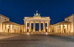 Berlin's most famous landmark, the Brandenburg Gate, at night, Germany