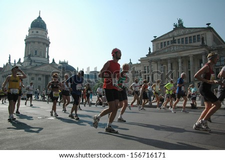 BERLIN - SEPTEMBER 25, 2005: Gendarmenmarkt, runners during the Berlin Marathon 2005, Berlin.