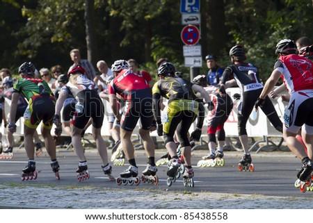 BERLIN - SEPTEMBER 25: Thirty-eighth Berlin  Marathon skater mass start on September 25,  2011 in Berlin, Germany.