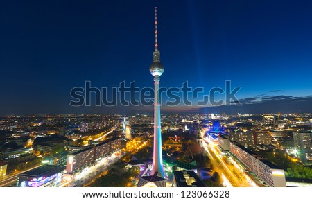 Berlin Skyline City Panorama with blue sky - famous landmark in Berlin, Germany, Europe