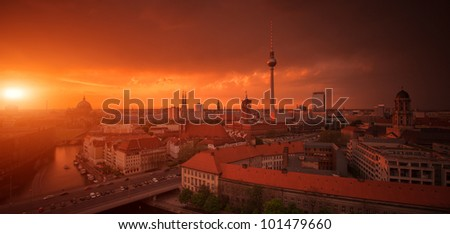 Berlin Skyline City Panorama with Sunset - famous landmark in Berlin, Germany, Europe - stock photo