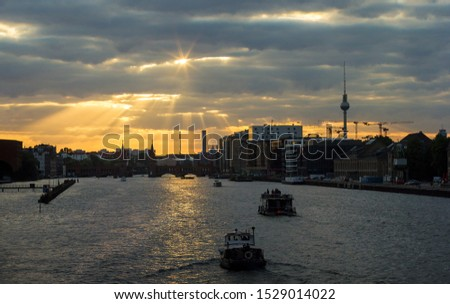 Berlin skyline cityscape sunset spree big city summer evening autumn evening #1529014022