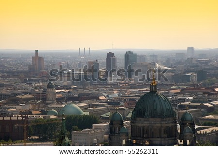 berlin skyline with potsdamer platz and berliner dom at dawn