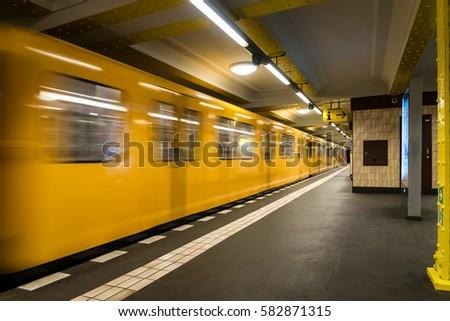 Berlin Subway metro underground - Yellow Train moving - nobody