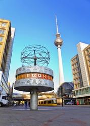 Berlin Tv Tower and Berlin World Clock at Alexanderplatz train station, Berlin, Germany