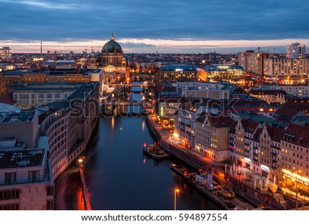 Berlin: view to the Berliner Dom at sunset