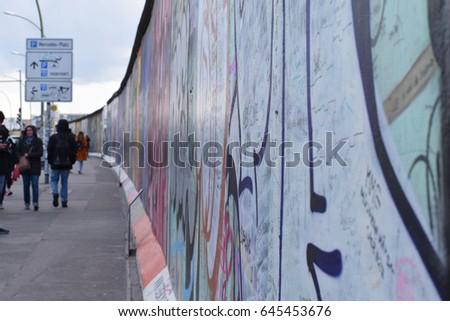 Berlin Wall at East side gallery. Berlin, Germany