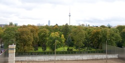 Berlin Wall Memorial at Bernauer Strasse and Television Tower