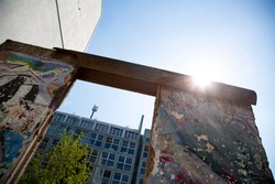 Berlin wall remains near the Berlin's checkpoint charlie