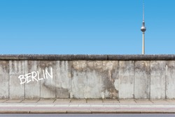 Berlin Wall with TV Tower and rendered Graffiti on wall background