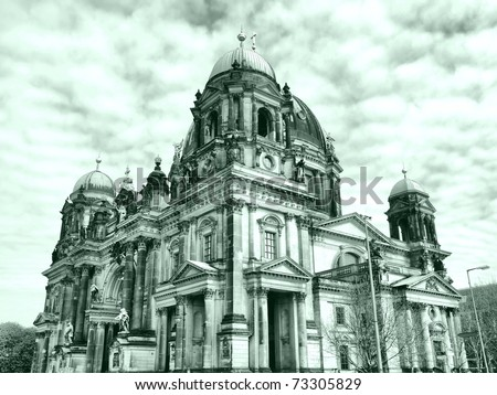 Berliner Dom cathedral church in Berlin, Germany - high dynamic range HDR - black and white