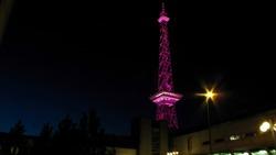 Berlins Funkturm at festival of light.