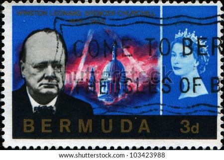 BERMUDA - CIRCA 1966: A stamp printed in Bermuda shows Winston Leonard Spencer Churchill, circa 1966