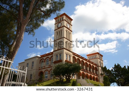 Bermuda Government Center Building in Hamilton, open gate and clock tower