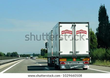 Bern, Switzerland - August 31, 2016: Truck on the highway in Switzerland #1029660508