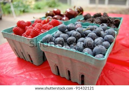 Berries and Cherries on Display