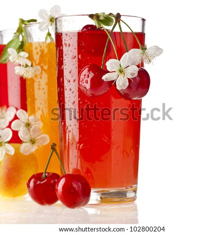 berries and fruits juices , isolated on white