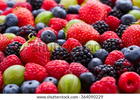 Berries Background macro, selective focus. Raspberries appetizing, natural blueberry, juicy strawberries, ripe gooseberries. Fruit Mix like bright background #364090229
