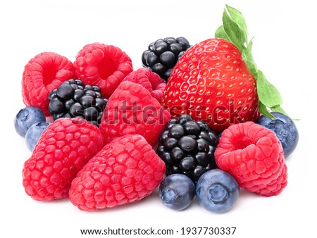 Berries collection isolated on white background. Fresh mix berry set isolate composition, raspberry, blackberry, blueberry, strawberry. Berries macro studio shot cutout. Full depth of field closeup.