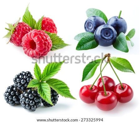 Berries collection. Raspberry, blueberry, blackberry, cherry isolated on white.
