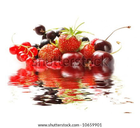 Berries isolated on white background with reflection