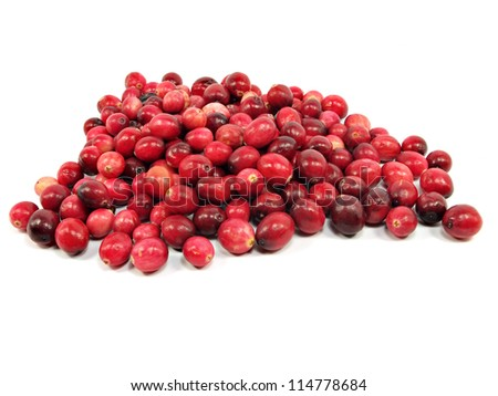 berries of a cranberry on a white background - stock photo