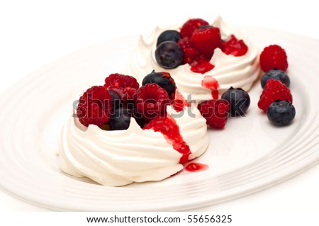 berries on meringue nests